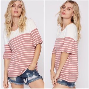 Tops - COLOR BLOCK MAUVE/IVORY STRIPED TOP RUFFLED SLEEVE